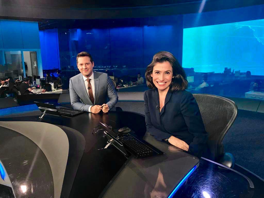Dony De Nuccio e Renata Vasconcellos no Jornal Nacional (Foto: Reprodução)