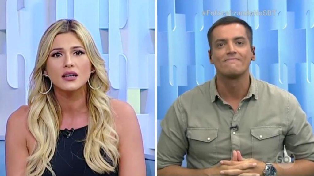 Lívia Andrade e Leo Dias brigaram durante exibição ao vivo do Fofocalizando (Foto: Reprodução)