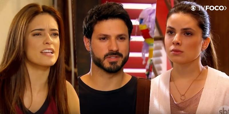Débora (Lisandra Parede) não quer perder Marcelo (Murilo Cezar) para Luísa (Thaís Melchior) em As Aventuras de Poliana