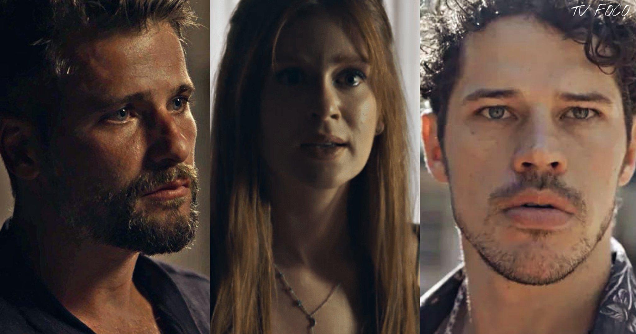Gabriel (Bruno Gagliasso) não suporta ver Junior (José Loreto) com Luz (Marina Ruy Barbosa) em O Sétimo Guardião