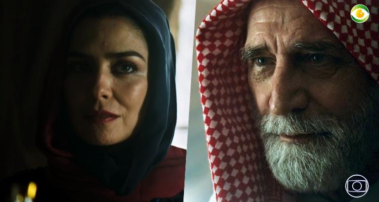 Soraia e Aziz em Órfãos da Terra (Foto: Montagem/TV Foco)