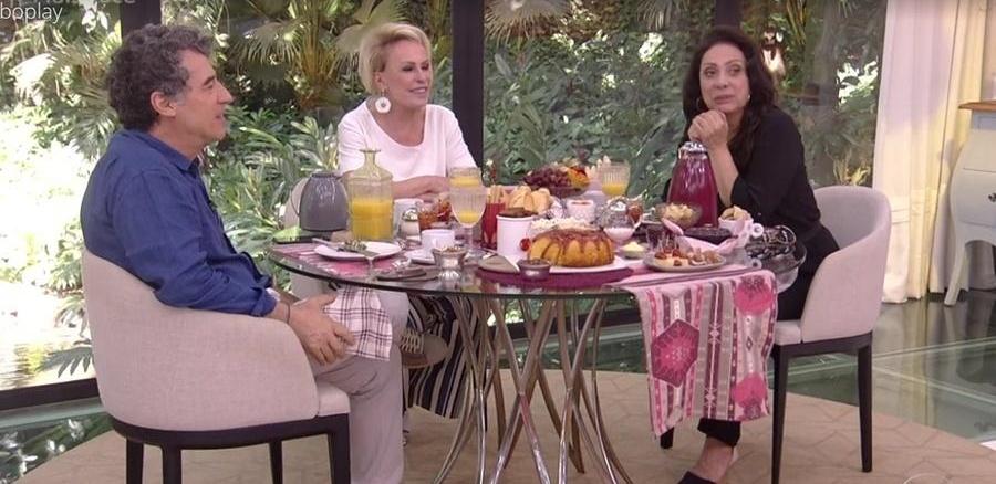 Ana Maria Braga recebeu o casal na Globo (Foto: Reprodução)