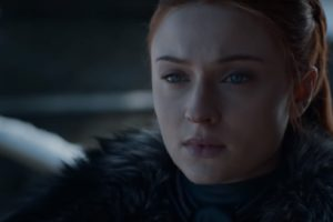 Sophie Turner como Sansa no trailer da última temporada de Game of Thrones (Reprodução/YouTube)