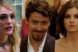 Na novela Verão 90, Manuzita (Isabelle Drummond), Jerônimo (Jesuíta Barbosa) e Vanessa (Camila Queiroz)