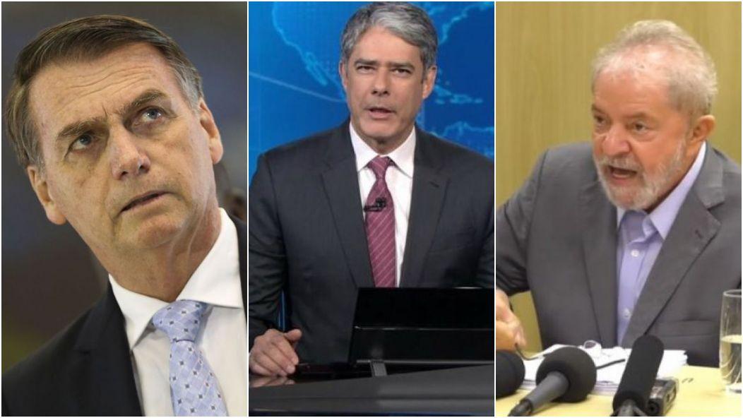 Jair Bolsonaro, William Bonner e Lula - destaques na Globo (Foto: Reprodução)