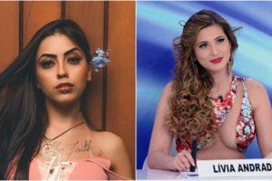 Livia Andrade foi desafiada por MC Mirella durante show (Foto: Montagem)