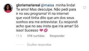 """Revoltada, Gloria Maria faz acusações a Maisa e desmente apresentadora do SBT: """"Não pedi para ir no seu programa"""" Foto: Reprodução Globo"""