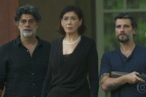 Eduardo Moscovis (Murilo), Lília Cabral (Valentina) e Bruno Gagliasso (Gabriel) no último capítulo de O Sétimo Guardião (Foto: Reprodução/Globo)
