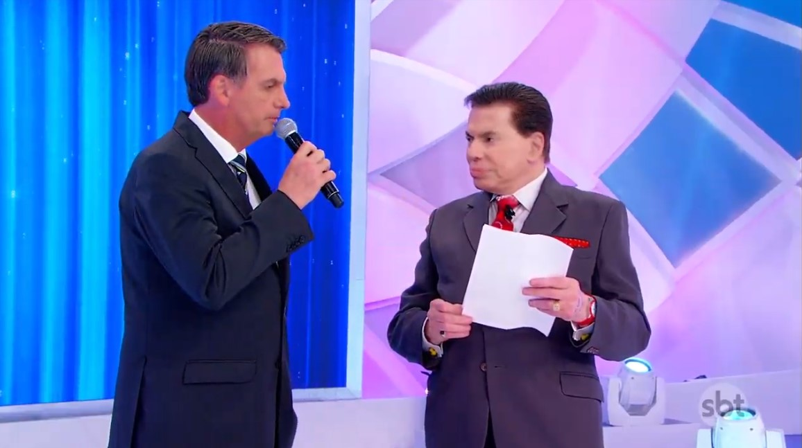 O presidente Jair Bolsonaro falou sobre Michelle Bolsonaro no Programa Silvio Santos (Foto: Reprodução/SBT)