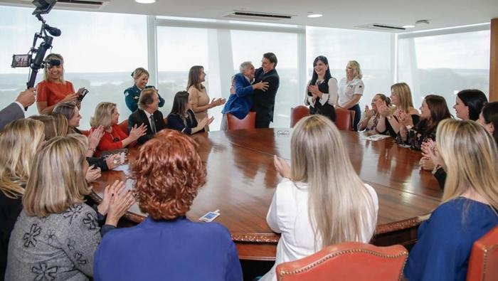 Carlos Alberto em encontro com Bolsonaro (Foto: Carolina Antunes/PR)