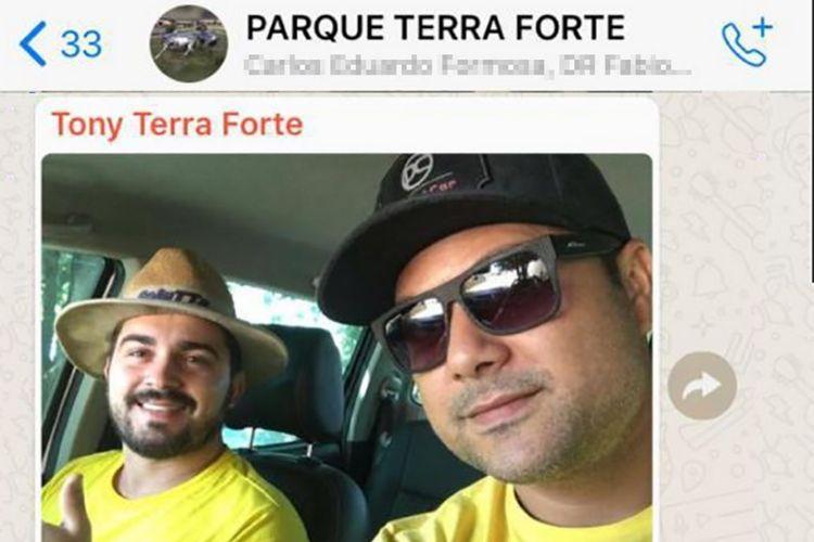 Dudu Nogueira e o empresário momentos antes do acidente (Foto: Reprodução/G1)