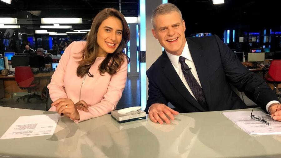 Lana Canepa e Eduardo Oinegue no Jornal da Band (Foto: Divulgação/Band)