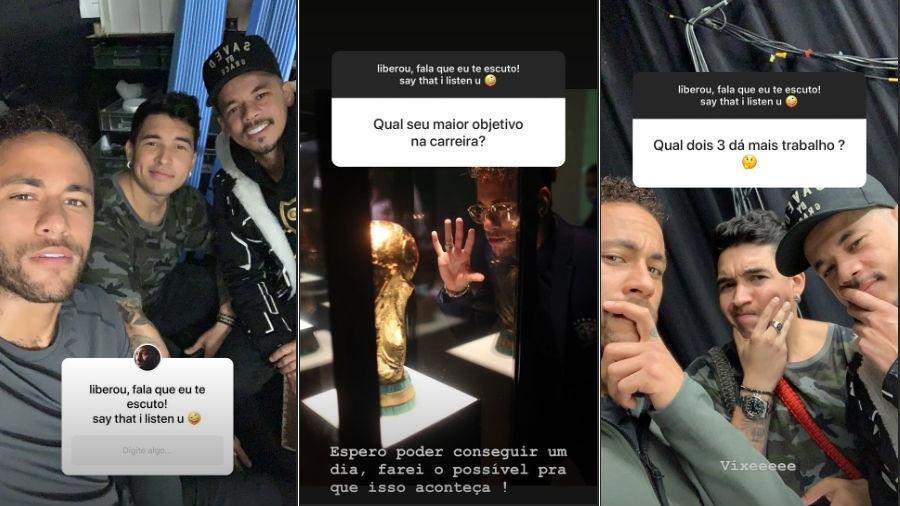 """Neymar e seus """"parças"""" Gil Cebola e Jota Amâncio (Foto: Reprodução/Instagram)"""