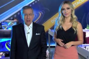 Paulo Henrique Amorim e Talita Oliveira no Domingo Espetacular (Foto: Reprodução)
