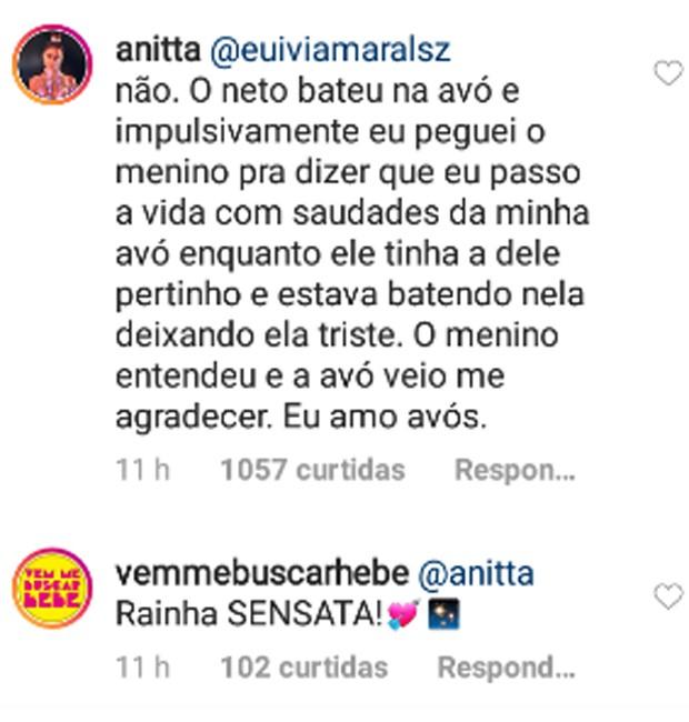 Publicação Anitta sobre neto que bateu na avó (Reprodução/Instagram)