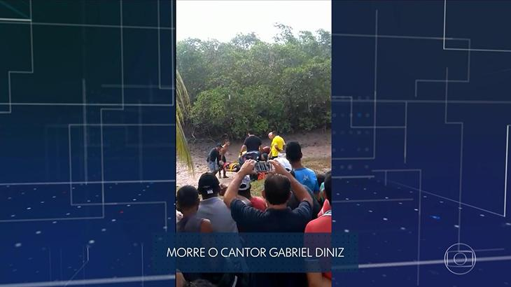 Imagem exibida pela Globo do acidente com Gabriel Diniz