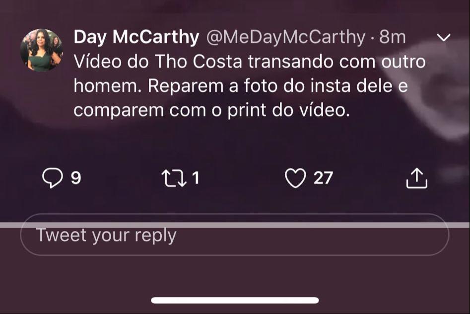 Thomaz Costa é atacado por Day Mccarthy nas redes sociais