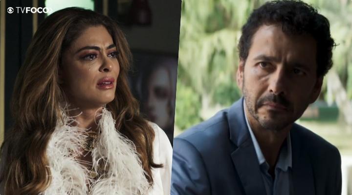 Maria da Paz (Juliana Paes) e Amadeu (Marcos Palmeira) em A Dona do Pedaço (Foto: Reprodução/Globo/ Montagem TV Foco)