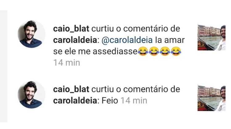 Caio Blat curte comentário de seguidora sobre assédio Imagem: Reprodução/Instagram