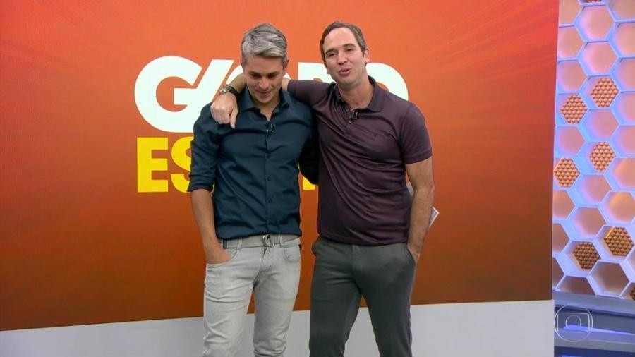 O apresentador Ivan Moré e o comentarista da Globo, Caio Ribeiro (Reprodução: TV Globo)