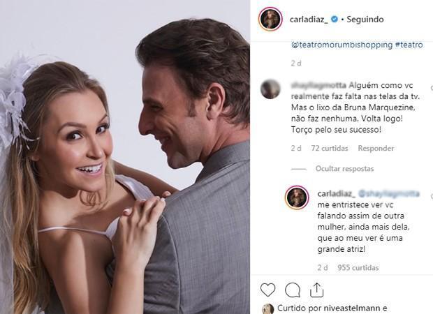 Carla Diaz discute com fã e enaltece atriz da Globo, Bruna Marquezine