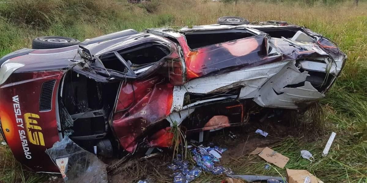 Acidente com o carro de Wesley Safadão (Foto: Reprodução)