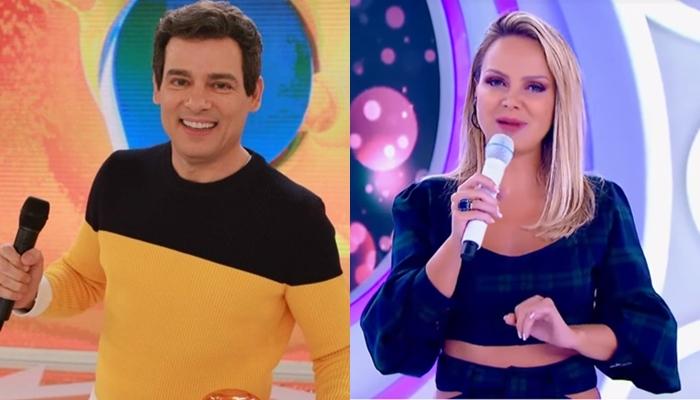 Celso Portiolli no Domingo Legal e Eliana em seu programa; audiência do SBT teve queda (Foto: Reprodução/SBT/Montagem TV Foco)