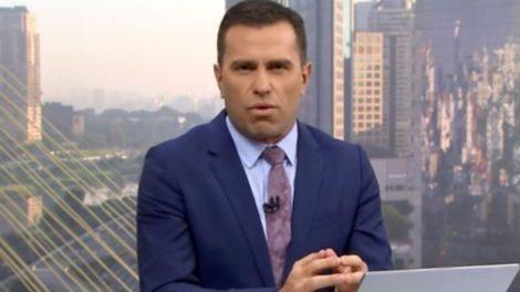 O jornalista da Globo, Rodrigo Bocardi, do Bom Dia São Paulo se irritou com telespectador ao vivo (Foto: Reprodução)