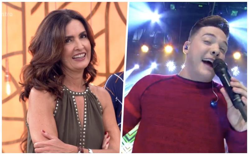Fátima Bernardes é surpreendida por Wesley Safadão no Encontro, fica constrangida e não sabe como reagir a atitude de cantor Foto: Reprodução