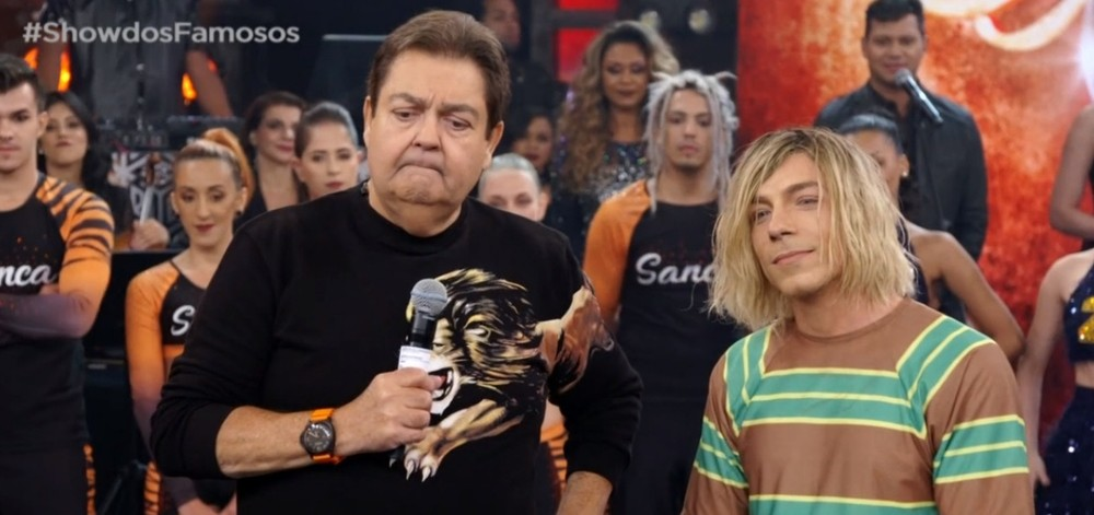 Faustão e Di Ferrero no Show dos Famosos (Foto: TV Globo)
