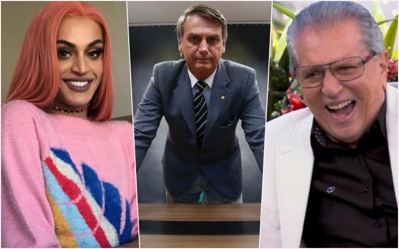 Apoiador de Bolsonaro, Carlos Alberto de Nóbrega vira drag queen ao lado de Pabllo Vittar no Programa da Maisa no SBT Foto: Reprodução