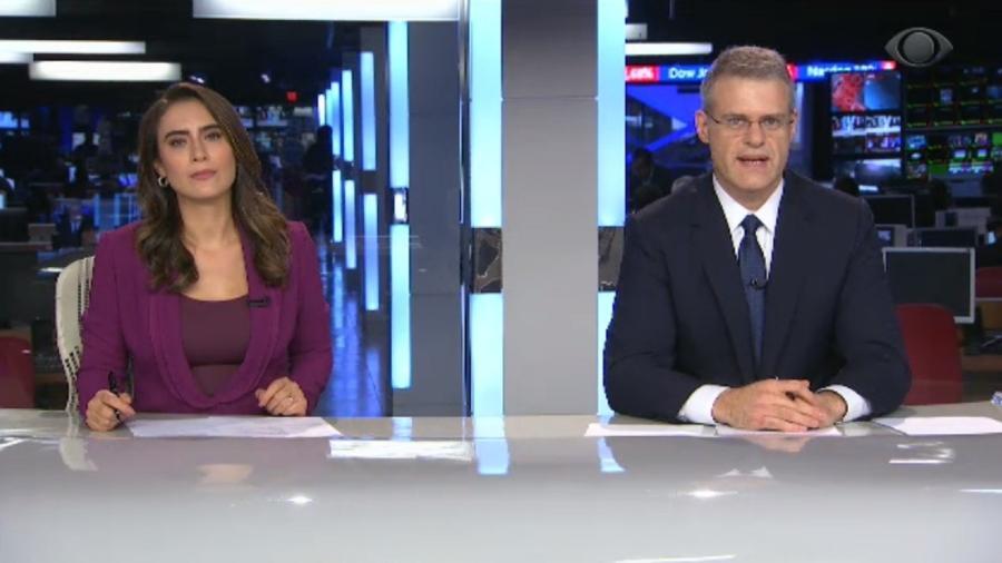 Os apresentadores Eduardo Oinegue e Lana Canepa (Foto: Reprodução)