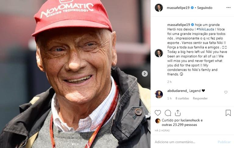 Famosos lamentaram a Morte Niki Lauda (Foto: Reprodução)
