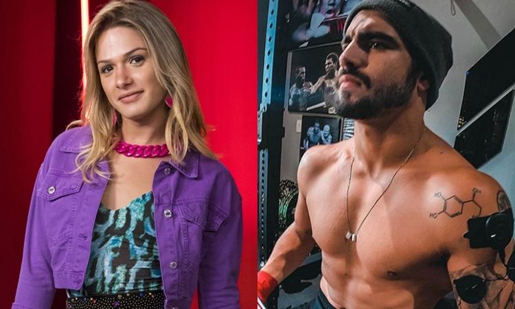 Britney/Rarisson (Glamour Garcia) e Rock (Caio Castro) em A Dona do Pedaço (Foto: Globo/João Cotta/Reprodução/Instagram)