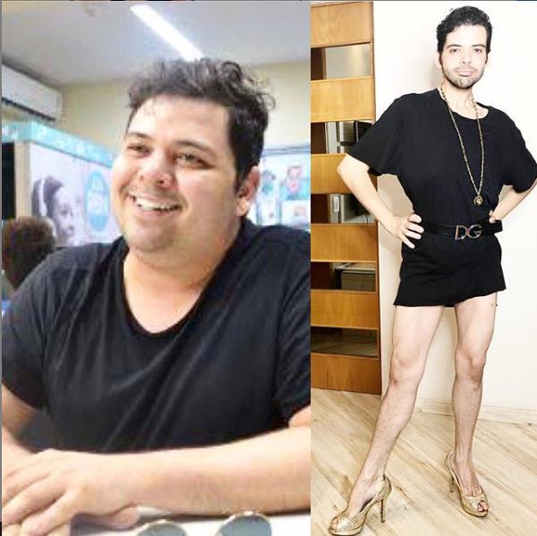 Gustavo Mendes antes e depois (Foto: Reprodução)