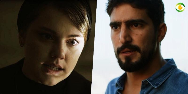 Jamil (Renato Góes) teme que a fúria de Dalila (Alice Wegmann) faça mal para o seu filho recém nascido na novela Órfãos da Terra da Globo