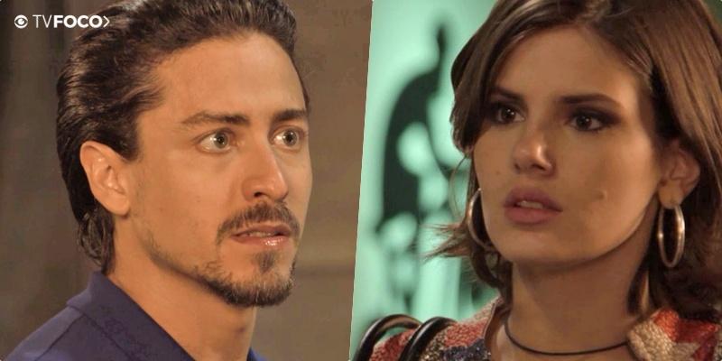Jerônimo (Jesuíta Barbosa) e Vanessa (Camila Queiroz) são amantes na novela Verão 90