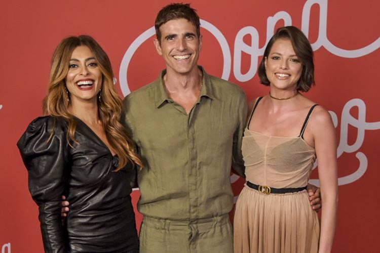 Juliana Paes, Reynaldo Gianecchini e Agatha Moreira formam parte o núcleo principal em A Dona do Pedaço (Foto: Reprodução/Globo)