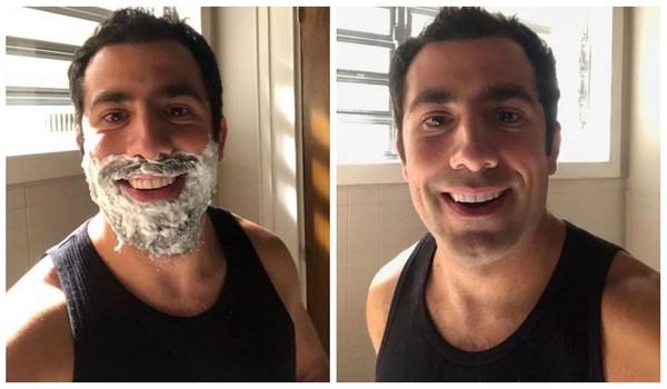 ex-BBB Kaysar tira a barba para a nova fase do capanga Fazue em Órfãos da Terra na Globo (Foto: Repordução)