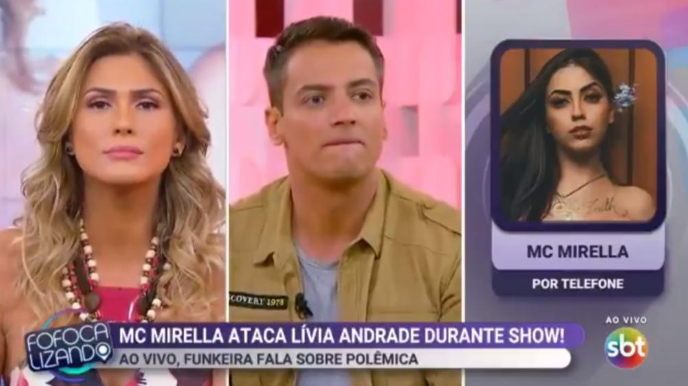 Lívia Andrade bateu boca com MC Mirella durante o Fofocalizando (Foto: Reprodução/SBT)