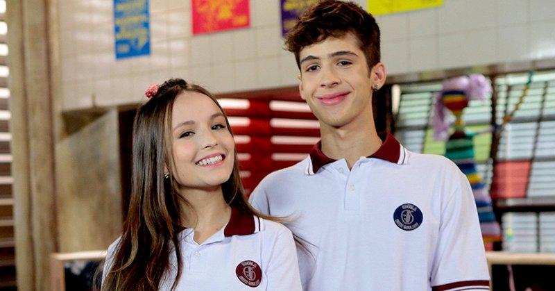 Os atores Larissa Manoela e João Guilherme interpretam Mirela e Luca Tuber na trama do SBT As Aventuras de Poliana