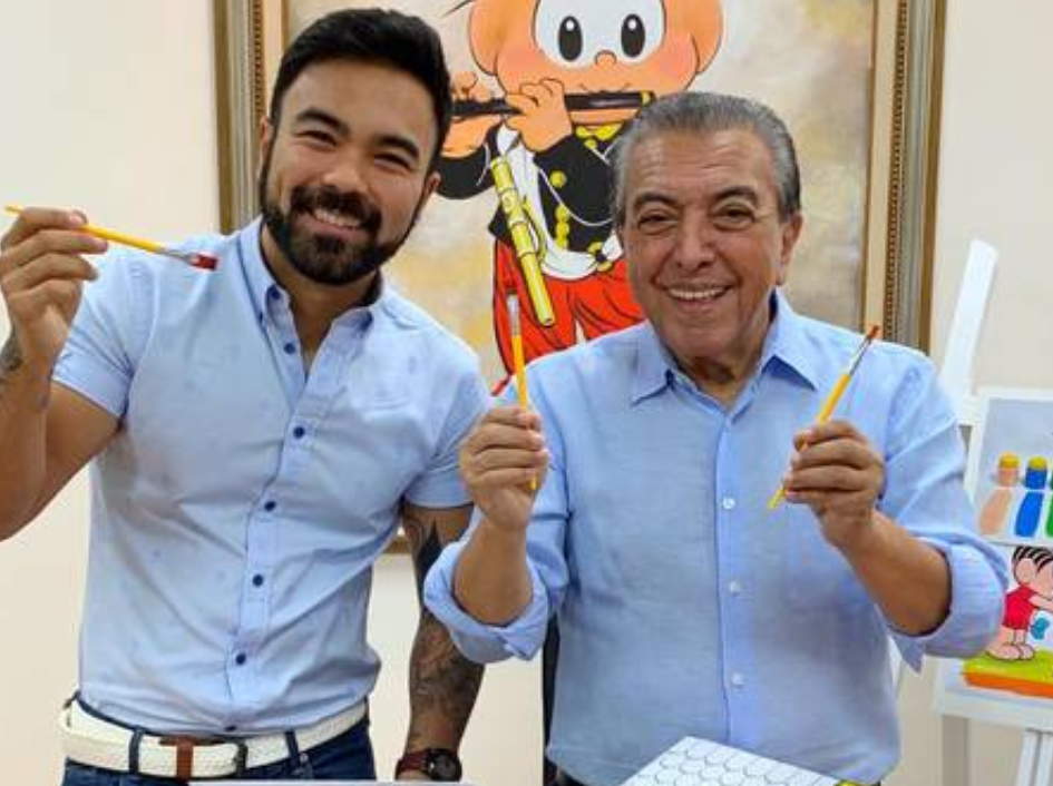 O cartunista Maurício de Souza e seu filho, que tem um namorado (Foto: Reprodução)