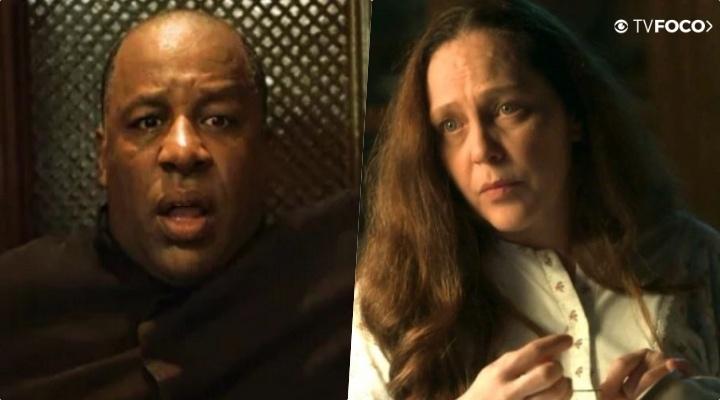 Na reta final de O Sétimo Guardião, Padre Ramiro (Aílton Graça) fica assustado com Judith (Isabela Garcia) na Globo