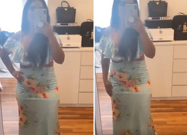 Simone experimenta vestido que não servia (Foto: Reprodução/Instagram)