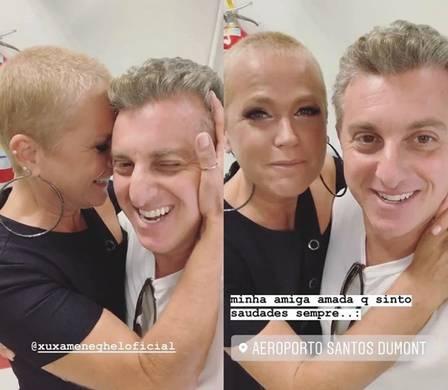 Luciano Huck e Xuxa Meneghel se encontram em aeroporto no Rio Foto: Instagram