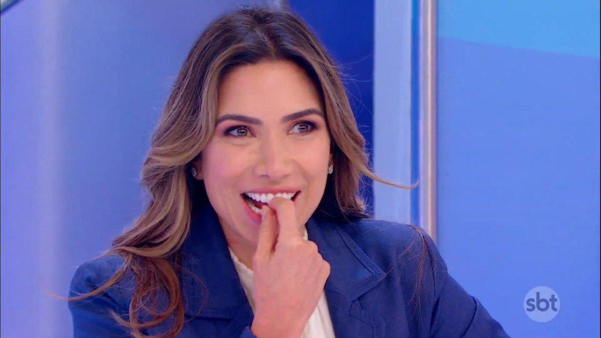 Patricia Abravanel no SBT durante o Programa Silvio Santos. (Foto: Reprodução)