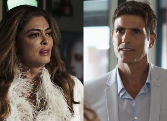 Maria da Paz (Juliana Paes) e Régis (Reynaldo Gianecchini) em A Dona do Pedaço (Foto: Reprodução/Globo)