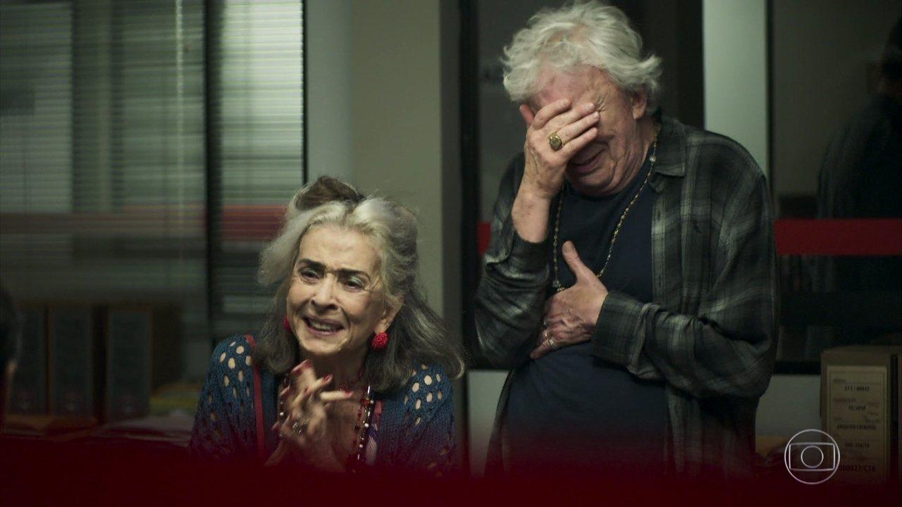 Cornélia (Betty Faria) e Eusébio (Marco Nanini) em A Dona do Pedaço (Foto: Reprodução/Globo)