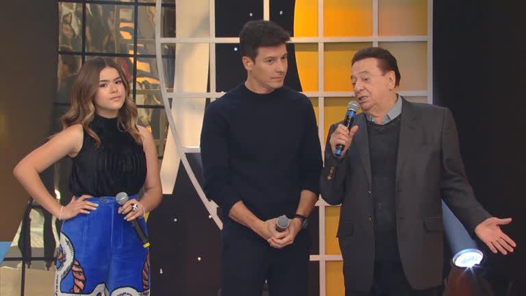 Maisa Silva, Raul Gil e Rodrigo Faro se encontraram na Record (Foto: Divulgação)