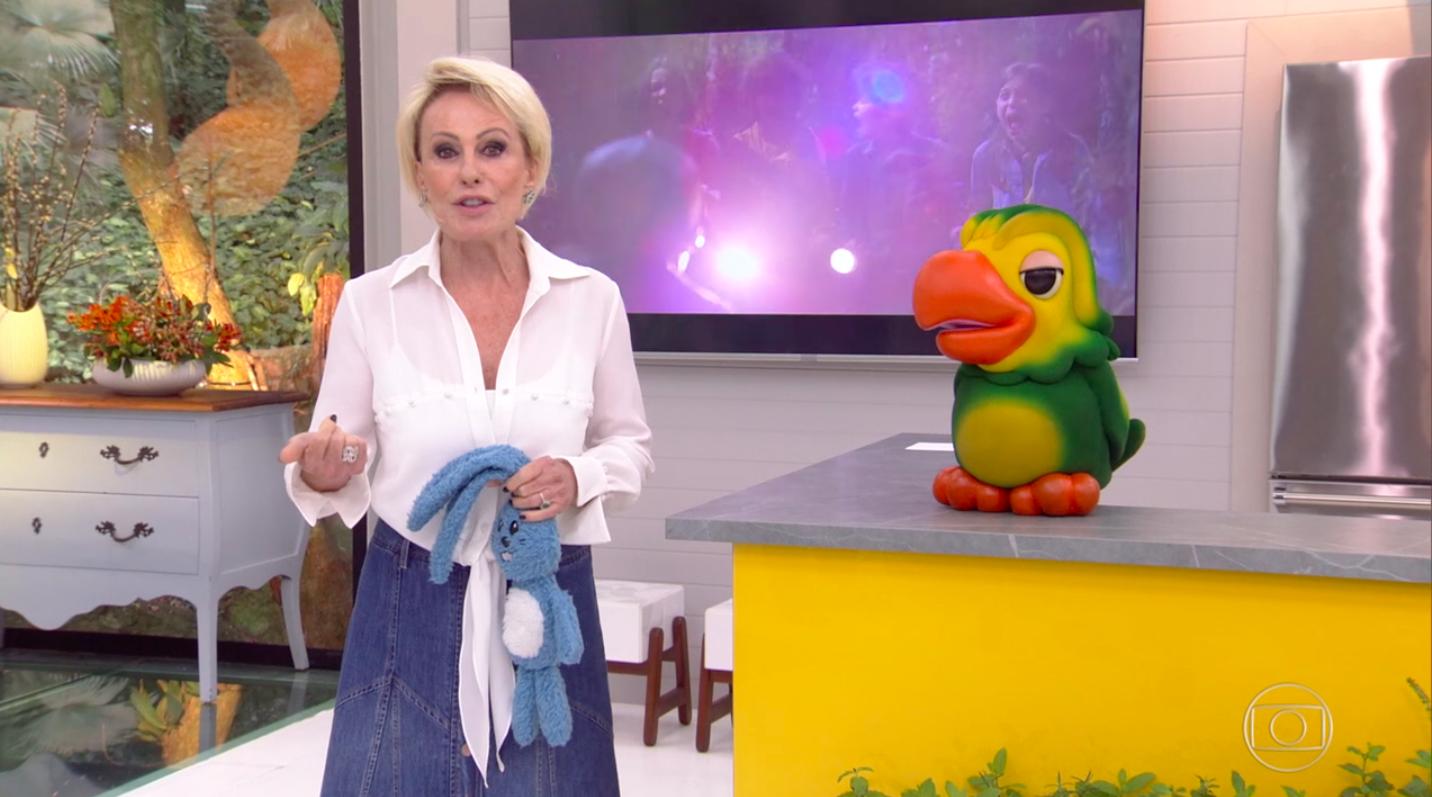 Ana Maria Braga no Mais Você da Globo recebeu o Sansão da Turma da Mônica e Louro José disparou contra a loira Foto: Reprodução